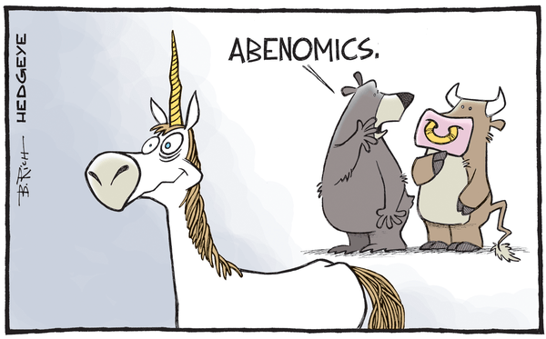 Is Japan Whistling Past the Demographic Graveyard? - Abenomics unicorn cartoon 09.24.2015