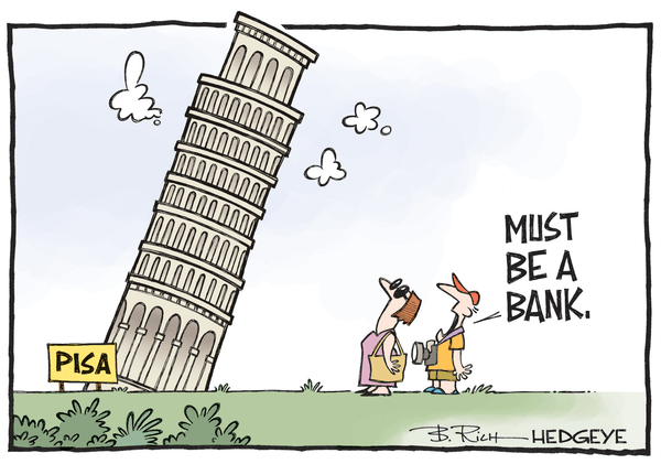 Europe On The Brink? When Bad = Bad - Italian bank cartoon