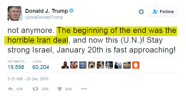 OIL ALERT: Trump Signals Beginning of the End of 'Horrible Iran Deal' - z trump tweet