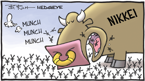Cartoon of the Day: Japan's Hungry Bulls - Nikkei bull munching cartoon 1.11.2017
