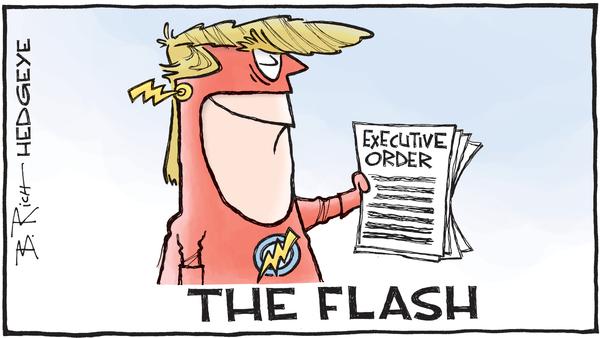 Cartoon of the Day: Trump Policies (In A Flash) - Trump Flash cartoon 01.25.23017