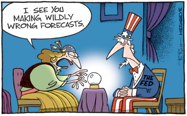 Fed Forecasts Are Wrong on Growth & Inflation 70% of the Time - fed forecast crystal ball