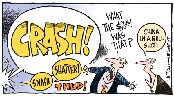 [From The Vault] Cartoon of the Day: China Bull? - China crash cartoon 08.25.2015