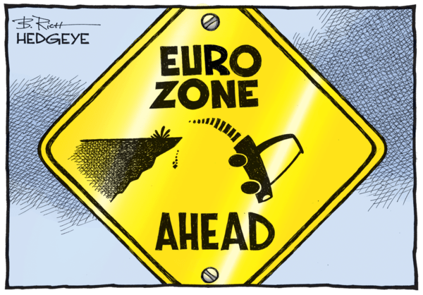 Hungry Bear Eats Europe. (Hmm, Who Called It?) - Euro Zone cartoon 08.17.2016