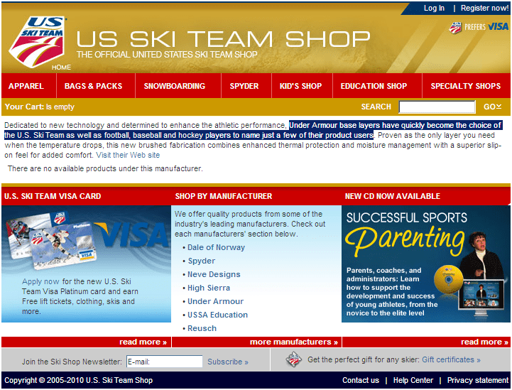 UA: Playing the Olympics Like a Champ - US Ski Team Website honoring UA