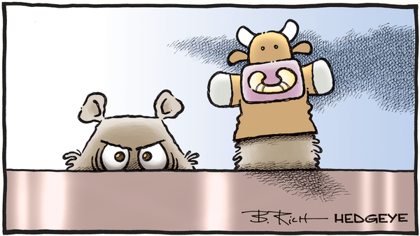 Cartoon of the Day: All Clear? - 01.09.2019 bear with bull puppet cartoon