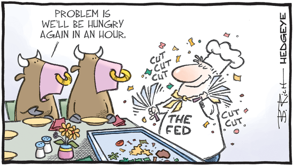 """Is An Earnings Recession Priced In?"" - 07.16.2019 Fed cut hibatchi cartoon"