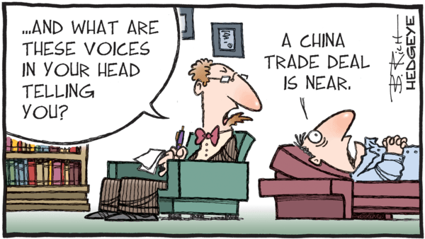 A Fake News Rally? - z hedgeye 08.27.2019 trade deal voices cartoon