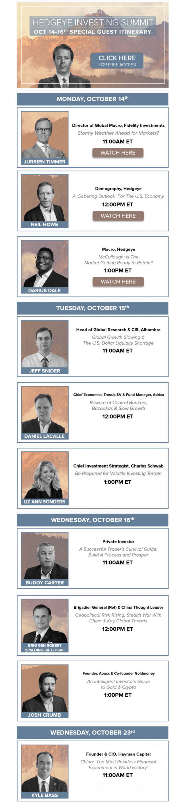 The Replays → Hedgeye Investing Summit - HIS invite1