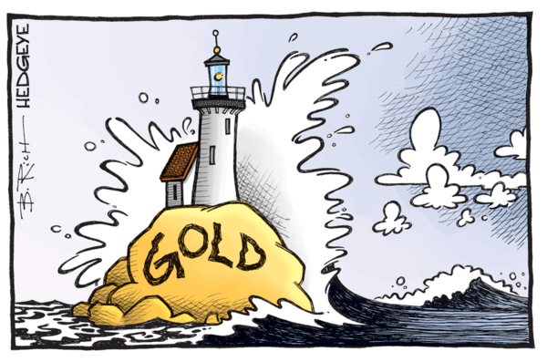 Gold + Real Yields Sleep Together - gold cartoon 09.14.2016