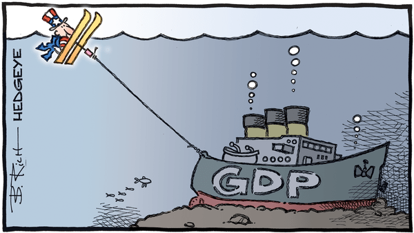 Cartoon of the Day: Underwater - 03.30.2020 GDP water ski cartoon