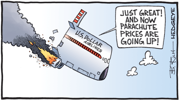 Cartoon of the Day: Going Down  - 08.06.2020 crashing dollar cartoon