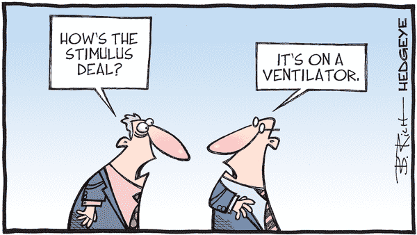 Cartoon of the Day: Stimulus Status  - 10.26.2020 stimulus on ventilator cartoon