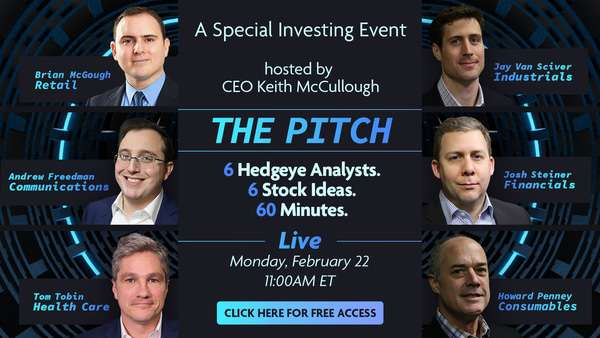 [WEBCAST TODAY] THE PITCH: 6 Hedgeye Analysts. 6 Stock Ideas. 60 Minutes. - Pitch2.22