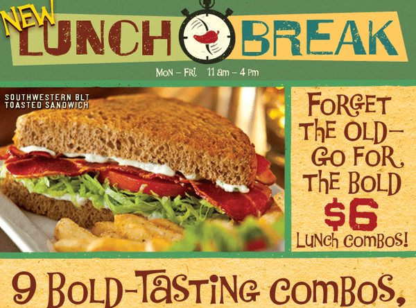 EAT: NEW LUNCH MENU $6 COMBO ROLLOUTS - chili s promo